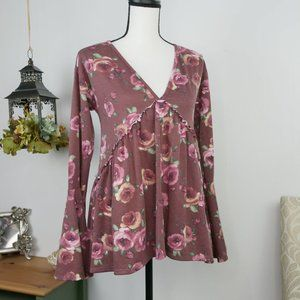 Altar'd State Blouse Babydoll Floral Long Sleeves